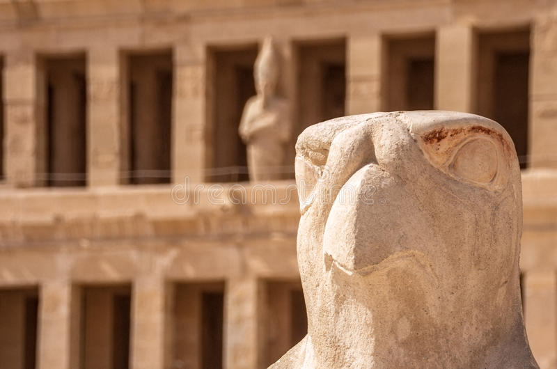 Horus που φρουρεί το ναό Hatshepsut στην Αίγυπτο, κοιλάδα των βασιλιάδων, Luxor, Αίγυπτος στοκ εικόνες