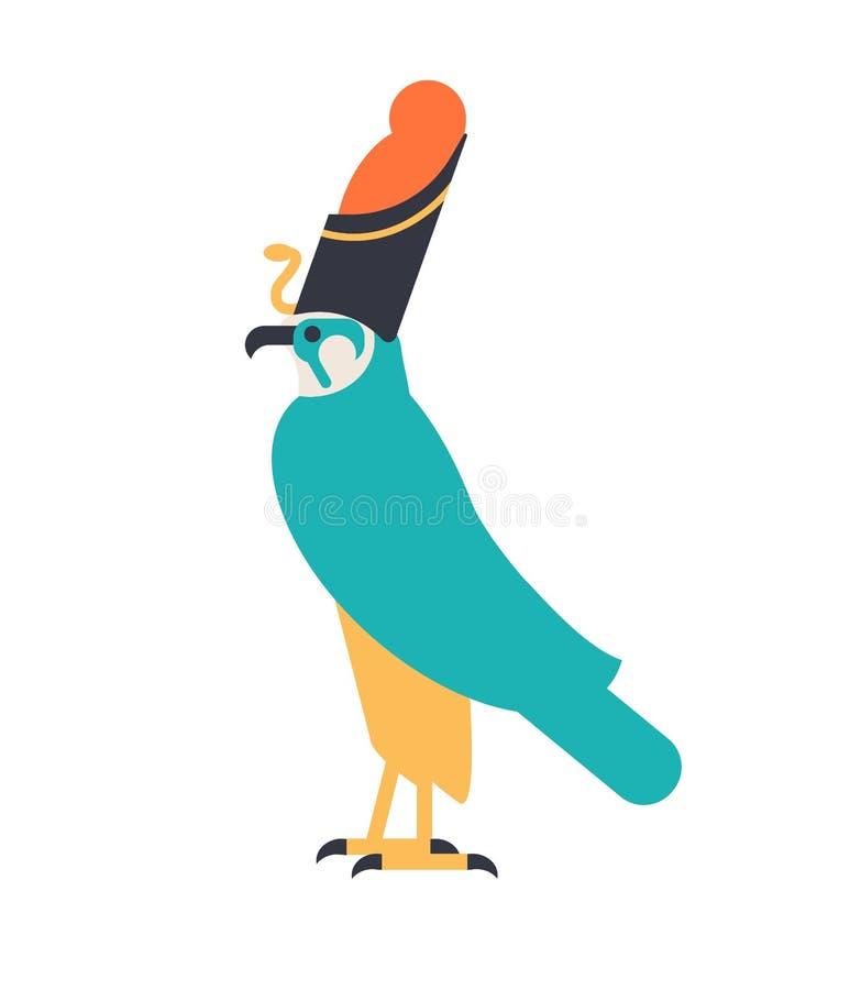 Horus - deus do céu, da deidade do guardião ou da criatura mitológica descritos como o falcão que veste a coroa egípcia legendári ilustração do vetor