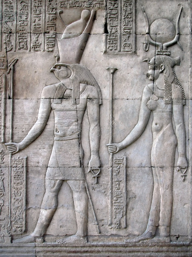 Horus en Hathor, Tempel van Kom Ombo, Egypte stock foto
