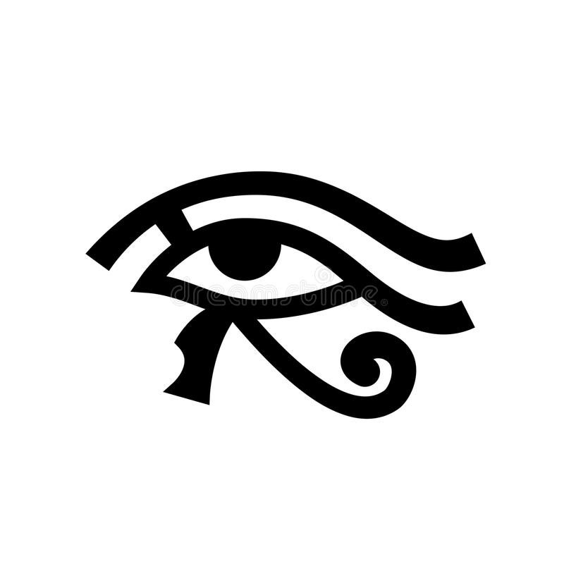 Horus eye (Wadjet). Eye of Ra. Ancient Egyptian Hieroglyphic Mystical Sign royalty free illustration