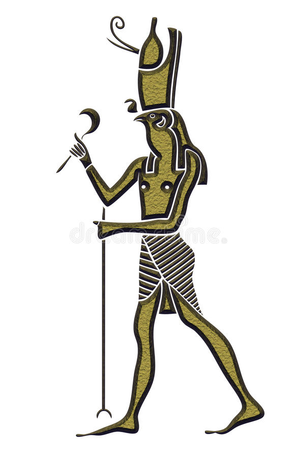 Horus - God of Ancient Egypt. God of Ancient Egypt - Horus - Heru - the falcon-headed god - is one of the oldest and most significant of the deities in the vector illustration