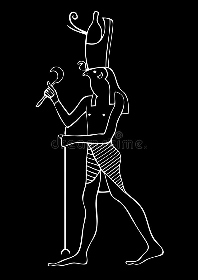 Horus - God of Ancient Egypt. Illustration of the Horus - God of Ancient Egypt. God of the sky and kingship stock illustration