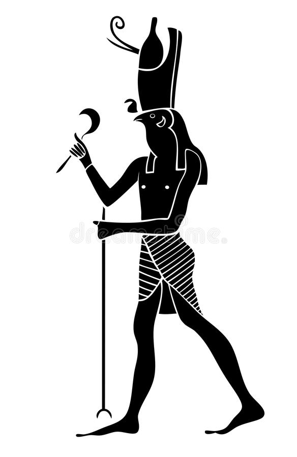 Horus - God of Ancient Egypt. God of war vector illustration