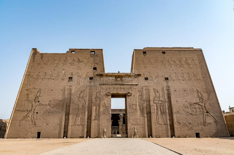 Horus Temple in Edfu, one of the best preserved temples in Egypt stock photos