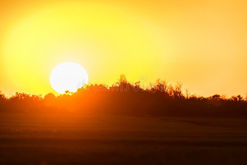 Horyzont linia wieś z słońca położeniem zdjęcie royalty free