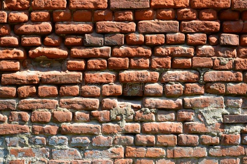 Horyzontalna ścienna tekstura kilka rzędy bardzo stary brickwork robić czerwona cegła Rozbijający i uszkadzający ściana z cegieł  obraz royalty free