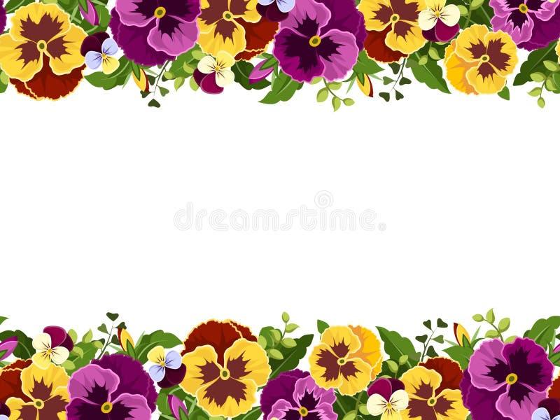 Horyzontalna bezszwowa rama z pansy kwiatami również zwrócić corel ilustracji wektora royalty ilustracja