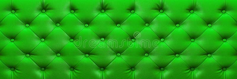horyzontalna elegancka zielona rzemienna tekstura z guzikami dla backgr zdjęcie stock