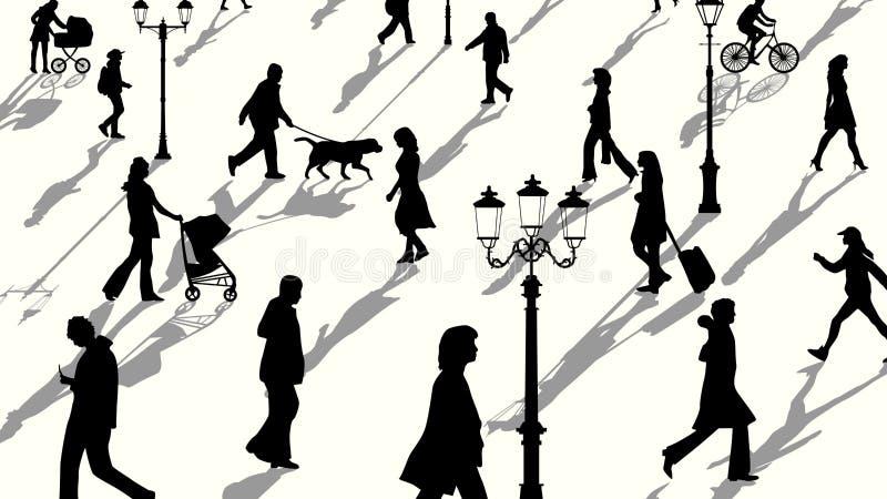 Horyzontalna ilustracja tłum sylwetek z cieniami ludzie