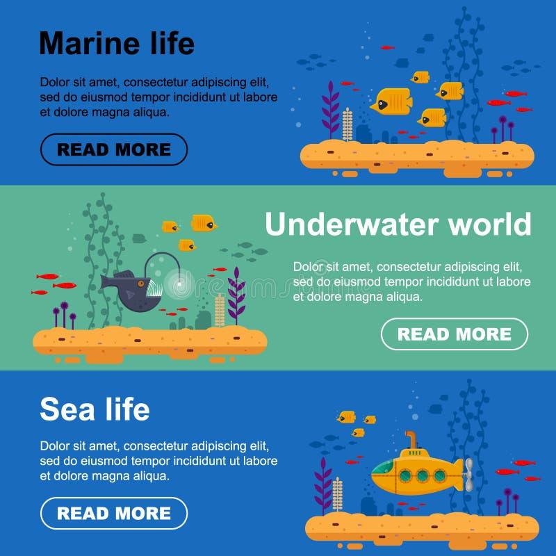 Horyzontalnego sztandaru żółta łódź podwodna z peryskopem, szkoła ryba, wędkarz ryba Morskiego życia ulotka z koralem, gałęzatka  royalty ilustracja