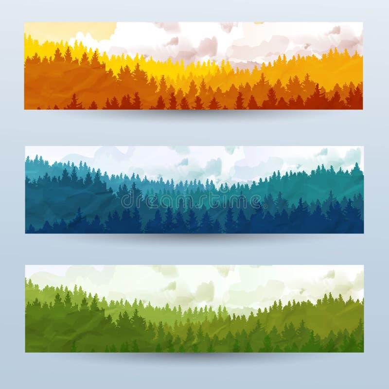Horyzontalni abstrakcjonistyczni sztandary wzgórza iglasty drewno z halnymi kózkami w różnym brzmieniu ilustracji