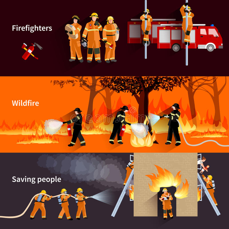 Horyzontalni strażaków sztandarów Ustawiających ludzie ilustracja wektor