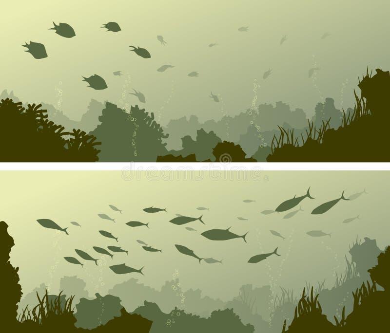 Horyzontalni szerocy sztandary dno morskie z rafami koralowa, algami i sc, ilustracji