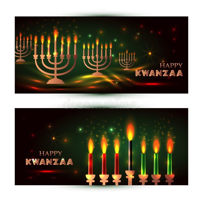 Horyzontalni sztandary dla Kwanzaa z tradycyjny barwionym i świeczek reprezentuje zasady Saba Siedem Nguzo lub ilustracji
