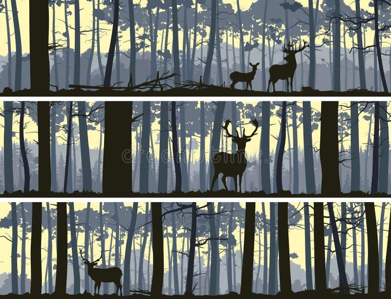 Horyzontalni sztandary dzikie zwierzęta w drewnie. ilustracji
