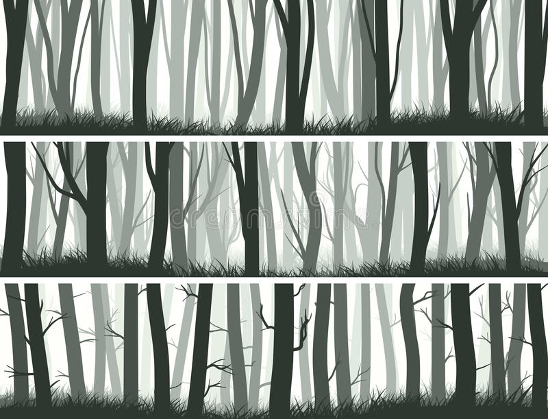 Horyzontalni sztandary lasowi z bagażnikami drzewa royalty ilustracja