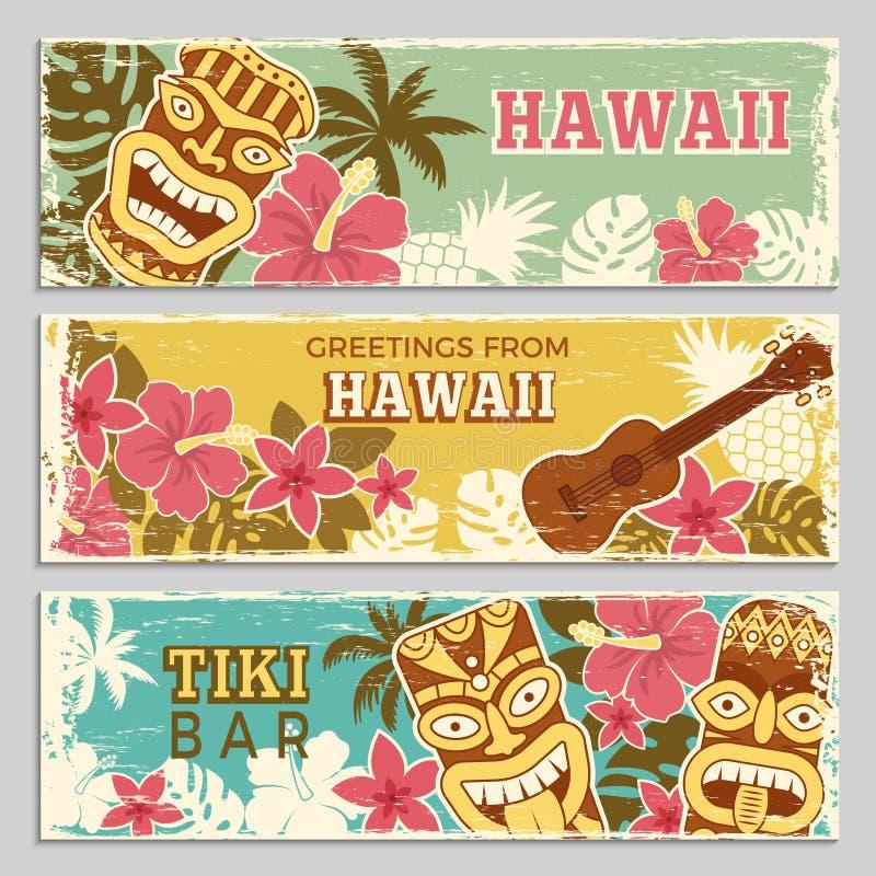 Horyzontalni sztandary ustawiający z ilustracjami hawajczyków plemienni bóg i inni różni symbole ilustracji