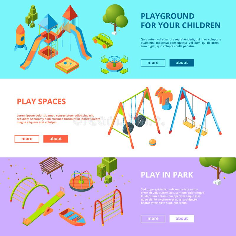 Horyzontalni sztandary ustawiający z isometric ilustracjami dzieciaka boisko royalty ilustracja
