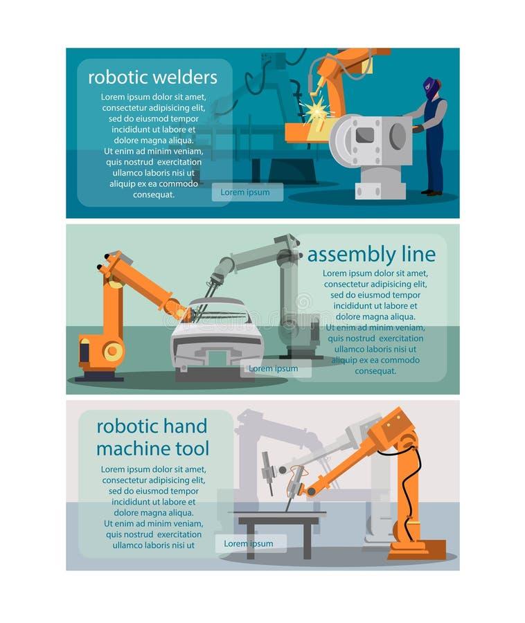 Horyzontalni sztandary ustawiający z robota spawaczem, linią montażową i mechanicznej ręki maszynowym narzędziem, ilustracja wektor