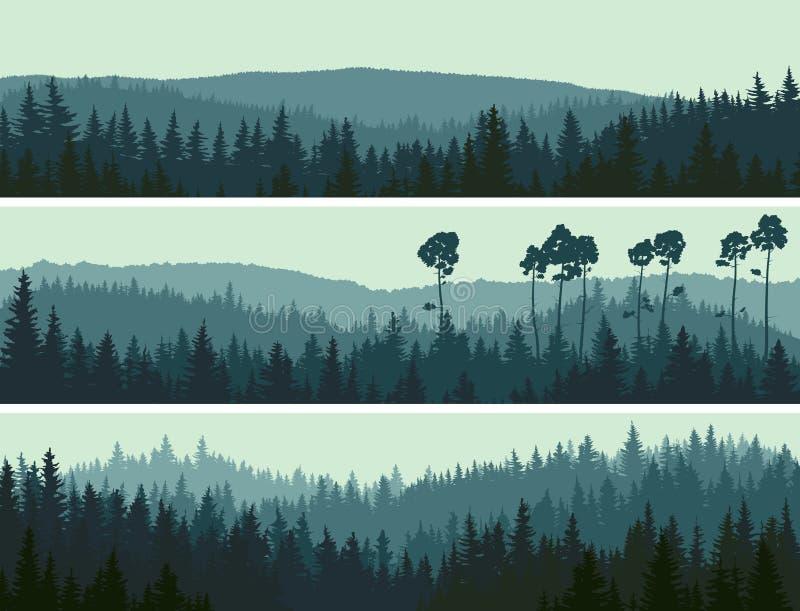 Horyzontalni sztandary wzgórza iglasty drewno. ilustracja wektor