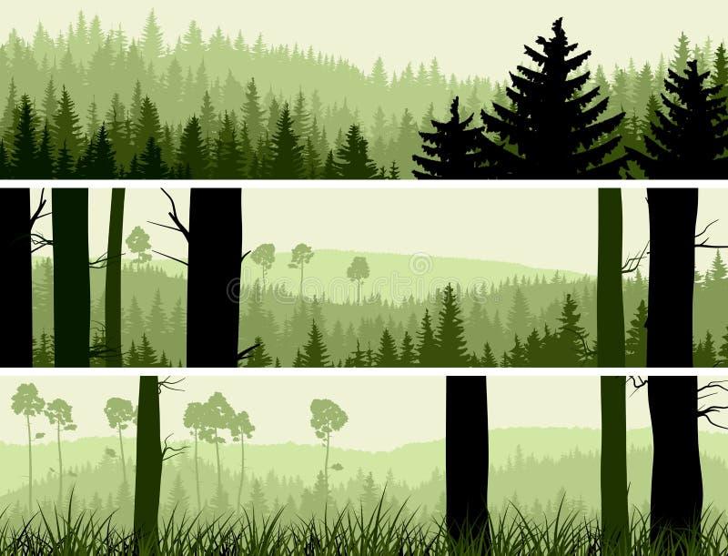 Horyzontalni sztandary wzgórza iglasty drewno. ilustracji