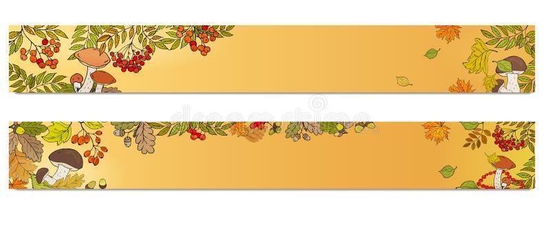 Horyzontalni sztandary z czerwonymi rowan jagodami, pieczarkami i liśćmi, autumn buty deszczowej podlegaj?cych gumowego parasolk? royalty ilustracja