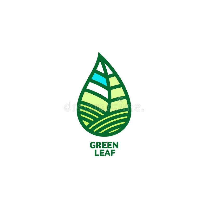 Horyzontalny śpiczasty zielony liścia loga szablon, wektorowa ilustracja royalty ilustracja