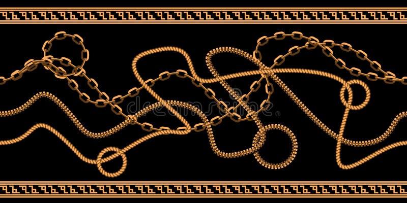 Horyzontalny Bezszwowy łańcuchu wzór Złocisty koloru projekt z abstrakcjonistyczną geometrical granicą Płaska wektorowa ilustracj ilustracja wektor
