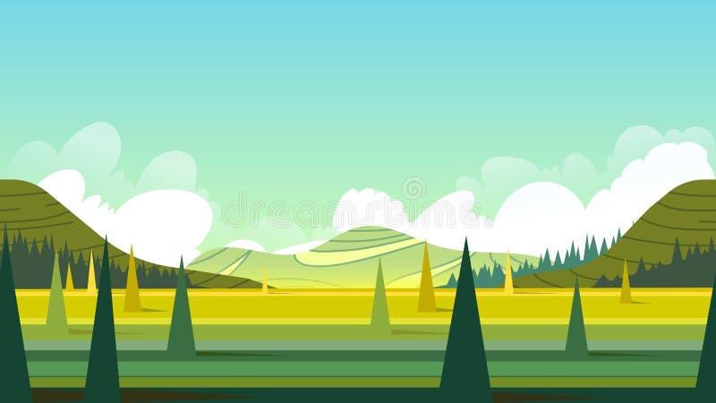 Horyzontalny bezszwowy lato krajobraz ilustracja Napady na urządzeniach przenośnych dla desktop rozmiaru i mogą ważący 1920x1080 ilustracja wektor