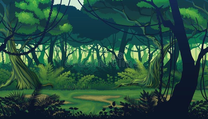 Horyzontalny bezszwowy tło krajobraz z głębokim dżungla lasem ilustracji
