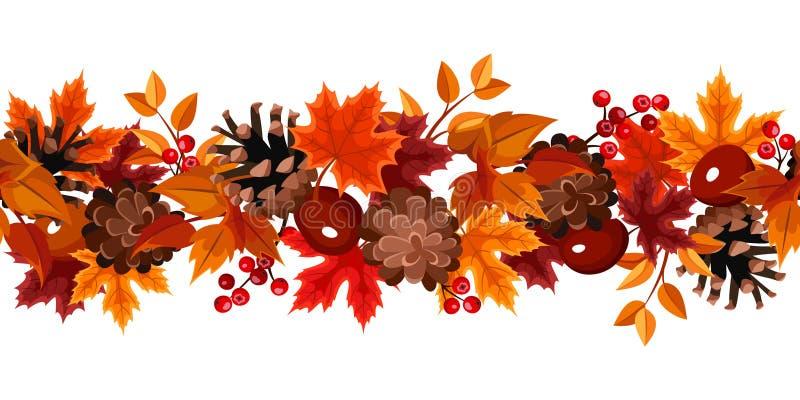 Horyzontalny bezszwowy tło z jesień liśćmi. ilustracji