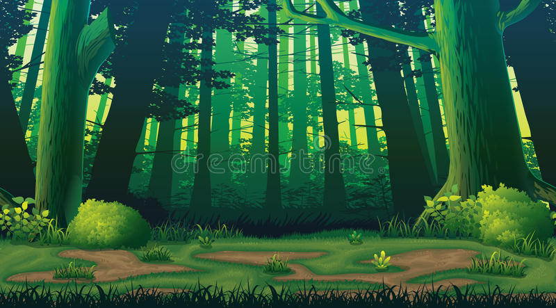 Horyzontalny bezszwowy tło z lasem ilustracji