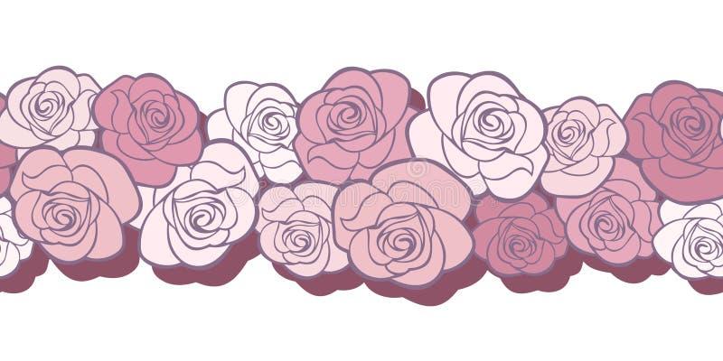 Horyzontalny bezszwowy tło z różami. ilustracji