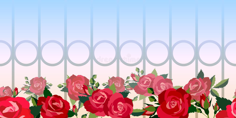 Horyzontalny bezszwowy wzór czerwone róże royalty ilustracja
