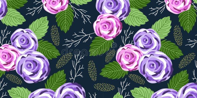 Horyzontalny Bezszwowy wzór z ślicznym doodle ogródem kwitnie róże na ciemnym tle, wektor ilustracji