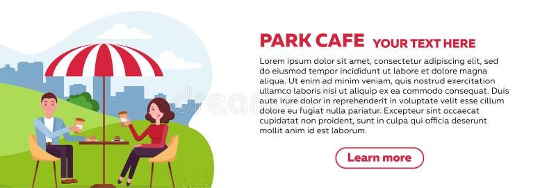 Horyzontalny broszurka projekt dla parkowej kawiarni para jest relaksująca w plenerowej kawiarni w miasto parku na trawiastym gaz ilustracja wektor