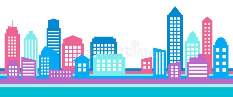 Horyzontalny kolorowy pejzażu miejskiego sztandar, nowożytna architektura ilustracji