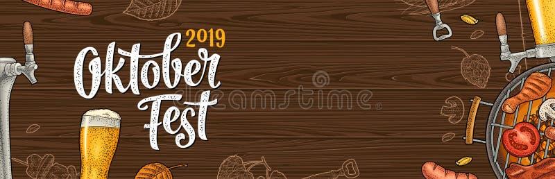 Horyzontalny plakat oktoberfest 2019 festiwal Rocznika koloru wektorowy rytownictwo royalty ilustracja