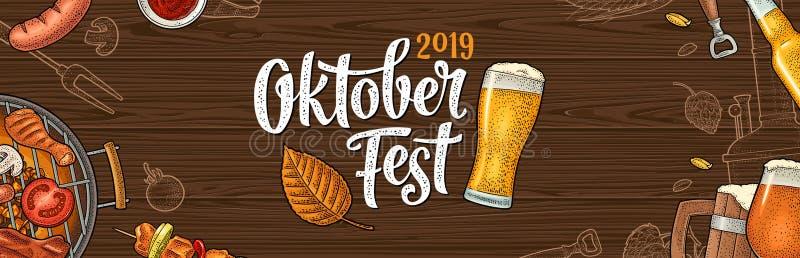 Horyzontalny plakat oktoberfest 2019 festiwal Rocznika koloru wektorowy rytownictwo ilustracja wektor
