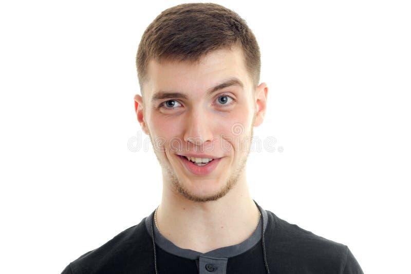 Horyzontalny portret piękny śmieszny facet który Hamming obrazy stock