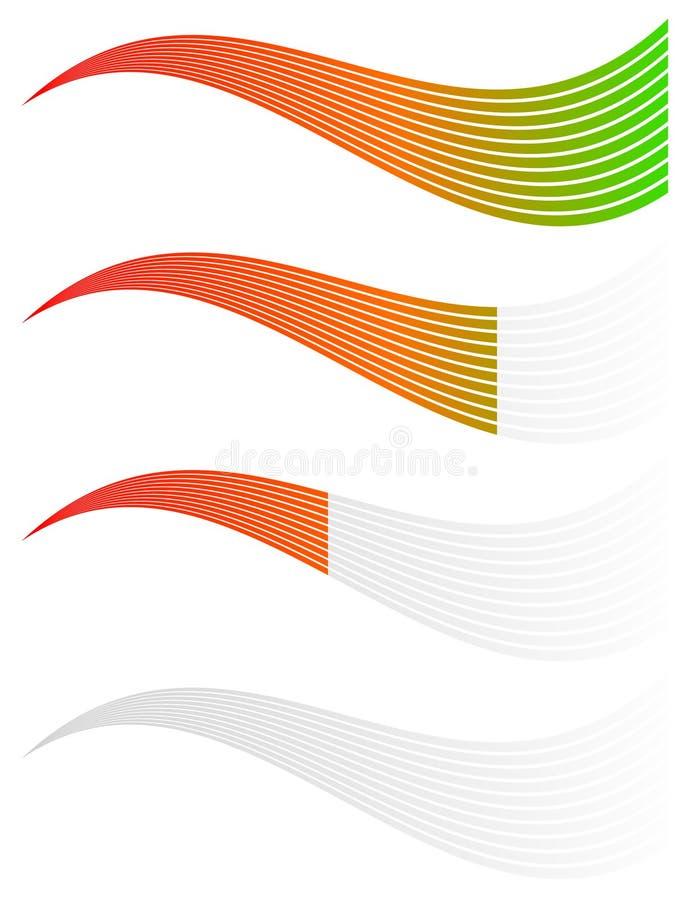 Horyzontalny poziom, postęp, ukończenie wskaźniki Kroki, fazy ilustracja wektor