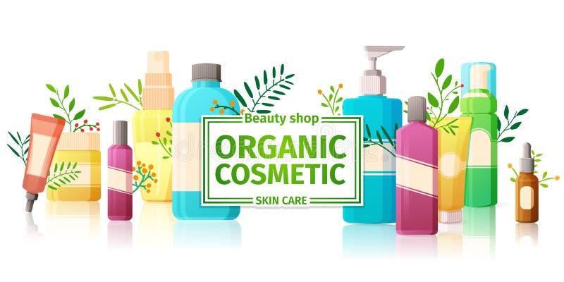 Horyzontalny projekta szablon broszurki, broszury, plakaty, sztandarów organicznie kosmetyki, organicznie sklep Projekt z butelka royalty ilustracja