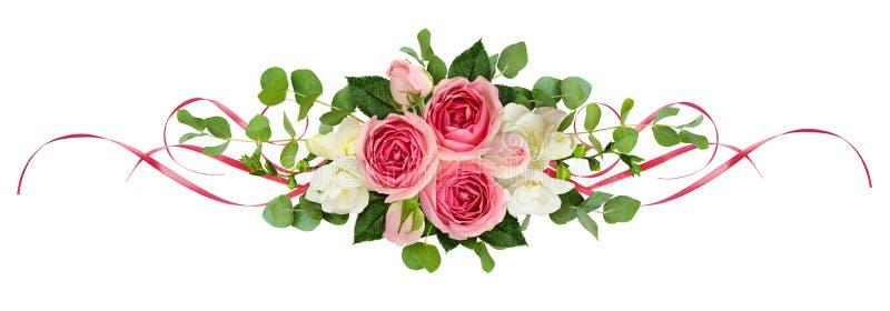 Horyzontalny przygotowania z różowymi różami, frezja kwitnie, eucalyp ilustracja wektor