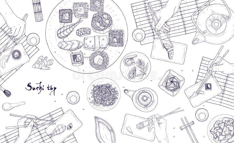 Horyzontalny sieć sztandaru szablon z rękami trzyma Japońskiego suszi, sashimi i rolki z chopsticks rysującymi z konturem, ilustracji