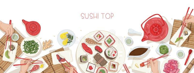Horyzontalny sieć sztandaru szablon z stołowy pełnym Japoński jedzenie i ręki trzyma suszi, sashimi i rolki z, ilustracji