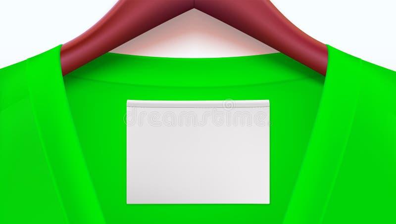 Horyzontalny szablon dla reklamować sprzedaże lub nowi przyjazdy Zieleni ubrania i opróżniają etykietkę na kołnierzu, drewnianym  ilustracja wektor