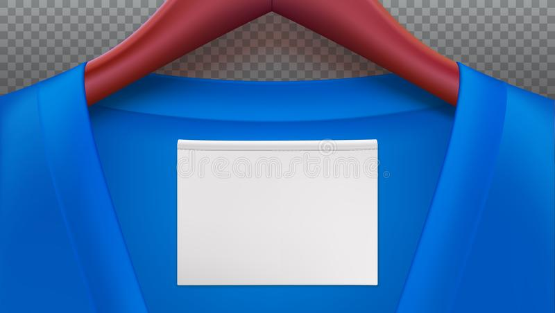Horyzontalny szablon na przejrzystym tle dla reklamować sprzedaże lub nowi przyjazdy Drewniani odzieżowi wieszaki z błękitem ilustracji