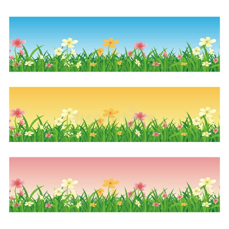 Horyzontalny sztandar z kreskówki trawą i kwiatami royalty ilustracja