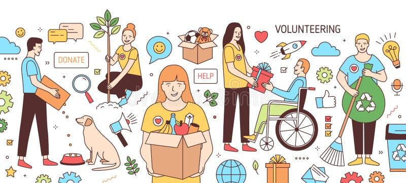 Horyzontalny sztandar z młodymi człowiekami i kobietami karmi psa, dawać prezentowi niepełnosprawna osoba, zasadzający drzewa, zb ilustracji