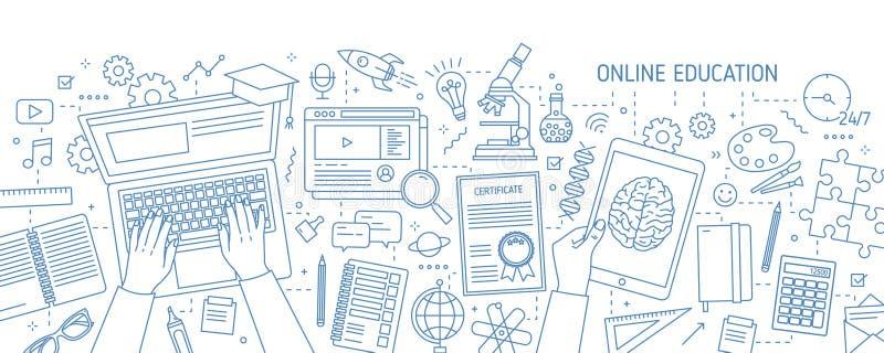 Horyzontalny sztandar z rękami pisać na maszynie na komputerowych i różnorodnych biurowych dostawach rysować z konturowymi liniam ilustracji